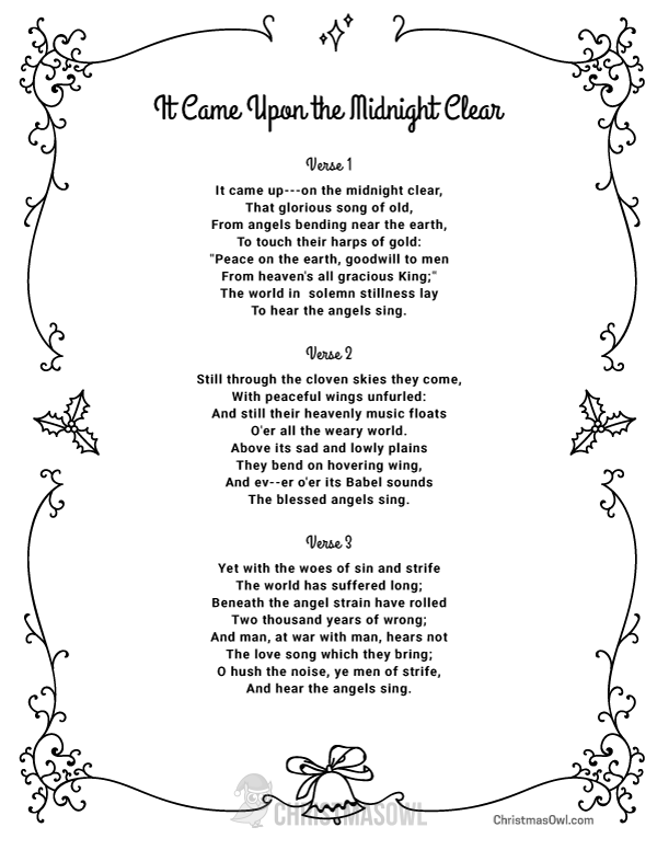 Free printable lyrics for It Came Upon the Midnight Clear