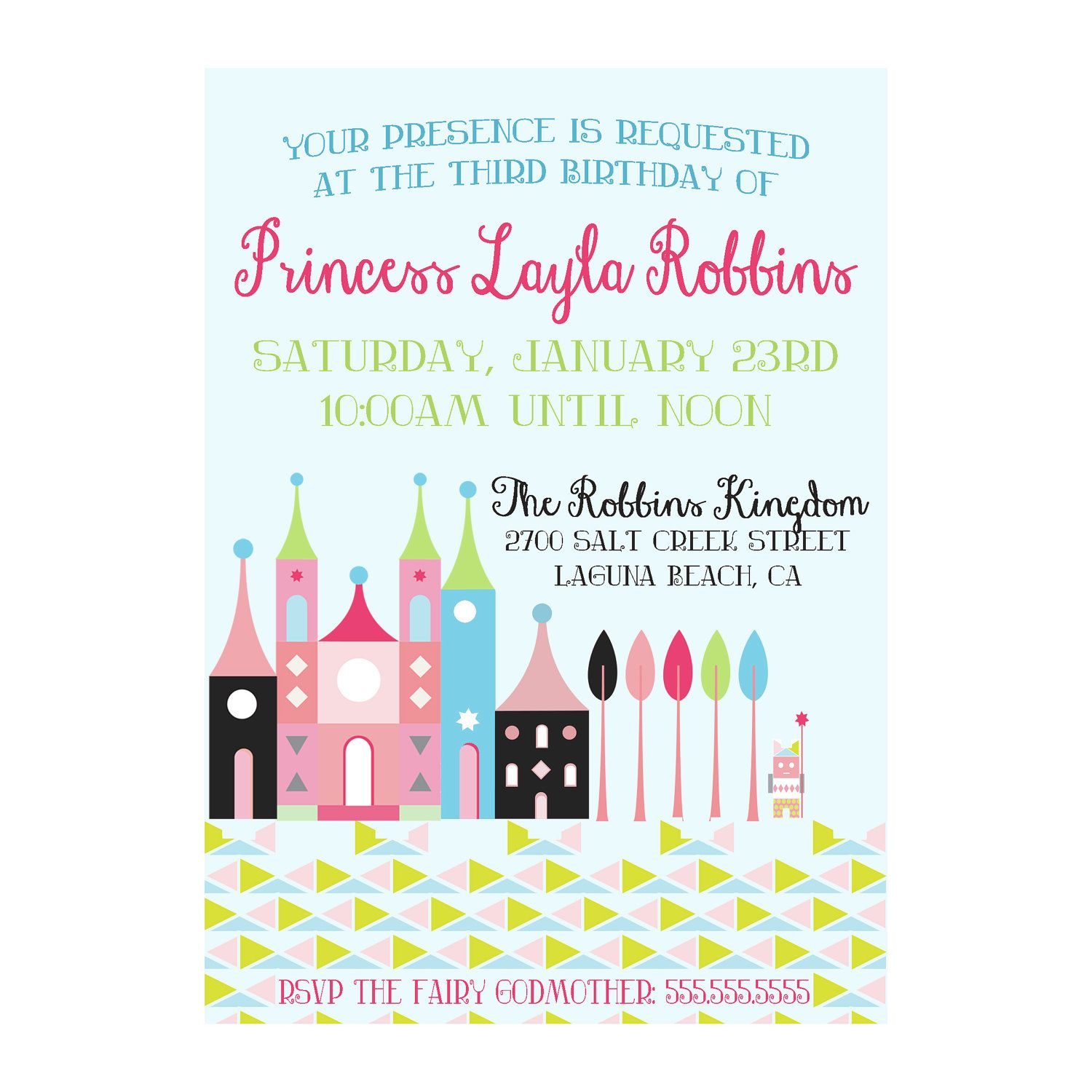 Custom Princess Birthday Invite Castle Party Invitation Princess