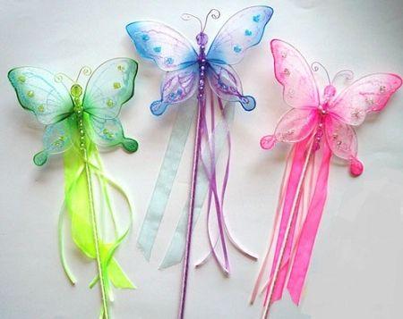 Fairy Butterfly Wand Green White Pearlescent Girls Party Princess Ribbon