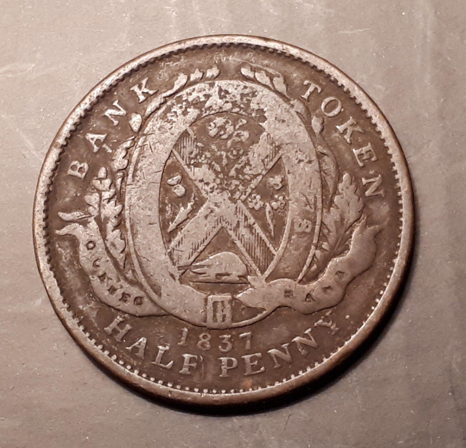 1837 Quebec Bank Old Canada Un Sou Half Penny Bank Token 181 Years Old Coins Paper Money Coins Canada Tokens 1820 1860 Ebay