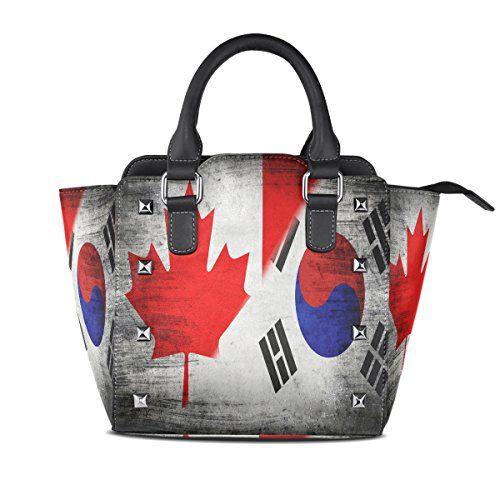 Alaza Canadian Flag Korean Pu Leather Tote Bag Zipper Crossbody Tophandle Handbags Best Value