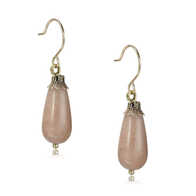 Stone Drop Earrings French Hook Natural Vintage Pale Pink