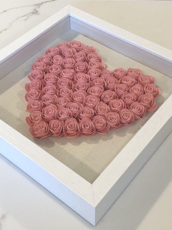 Custom Paper Flower Heart Shadow Box 1st Anniversary Gift Paper