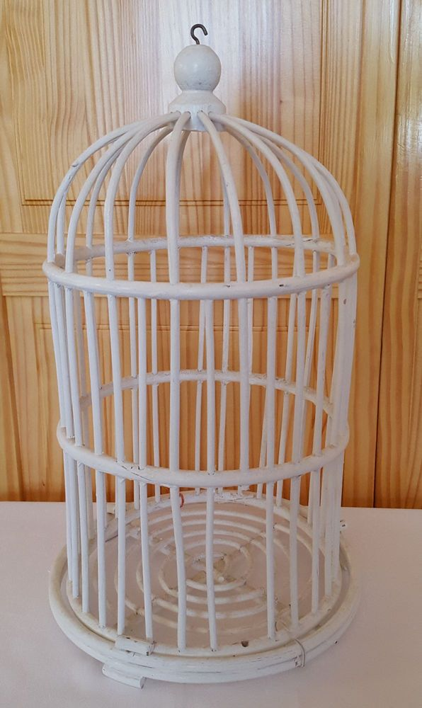 White Wicker Bird Cage Bamboo Wood Decorative Cottage Chic 16 Birdcage Shabby