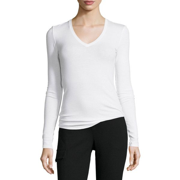 ATM Long-Sleeve Ribbed Jersey Tee ($135) ❤ liked on Polyvore featuring tops, t-shirts, white, white long sleeve tee, long sleeve tees, scoop neck tee, ribbed t shirt and white t shirt