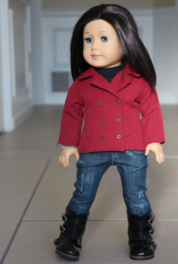 American Girl Doll Clothes, 18 inch outfit, Red Jacket, Distressed ...