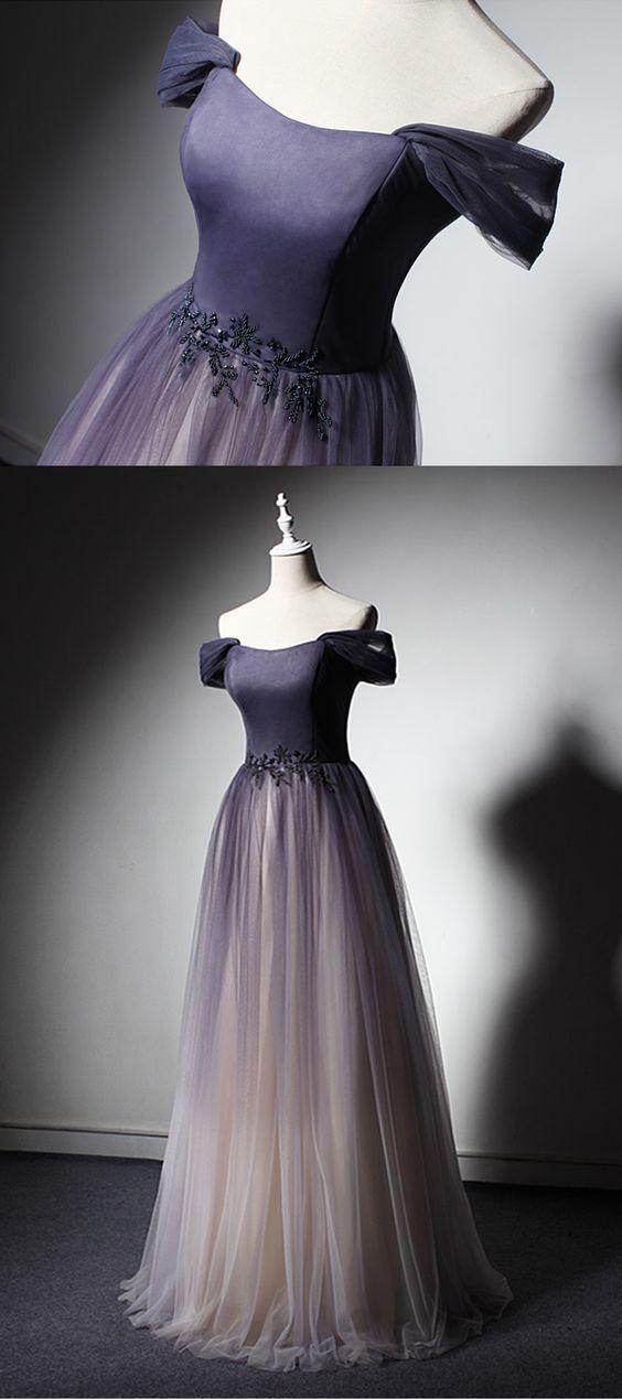 New design off shoulder long tulle a line evening dress, prom dress