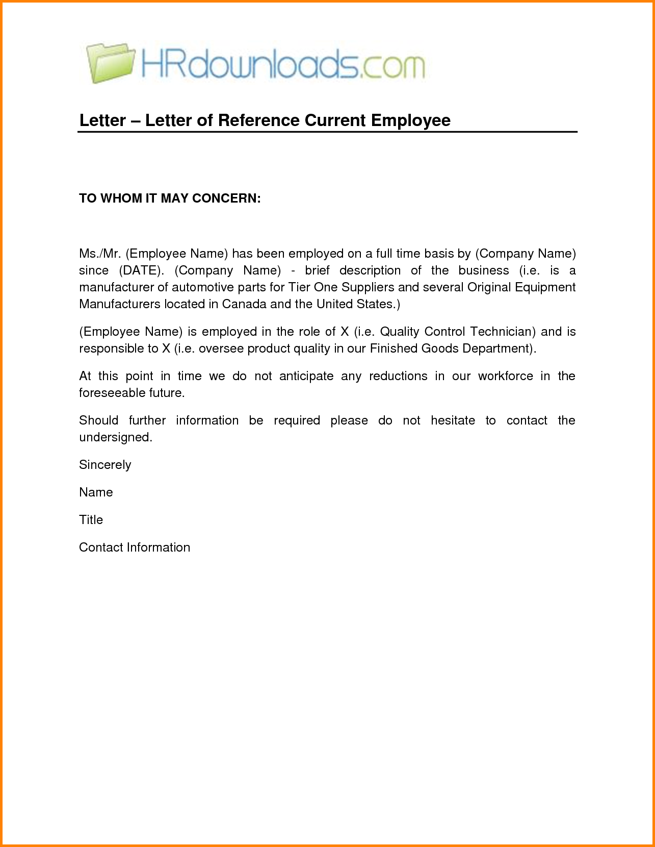 Employee Letter for Employment Letter of
