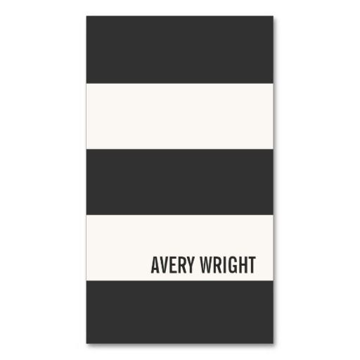 Bold Modern Black and White Striped Business Card