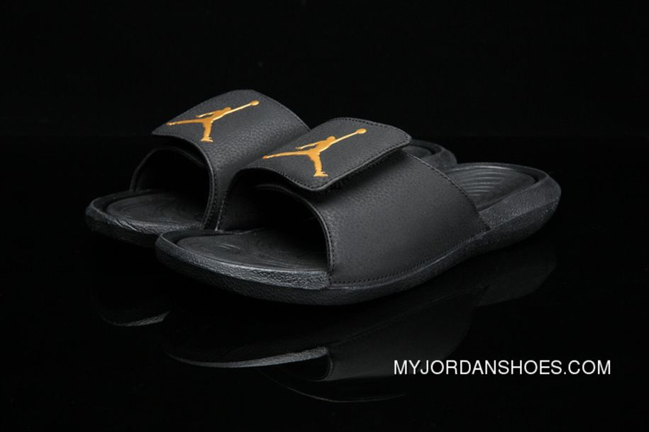 5cddb107fbe2 Air Jordan Hydro 6 Sandals Black Black Metallic Gold Discount ...