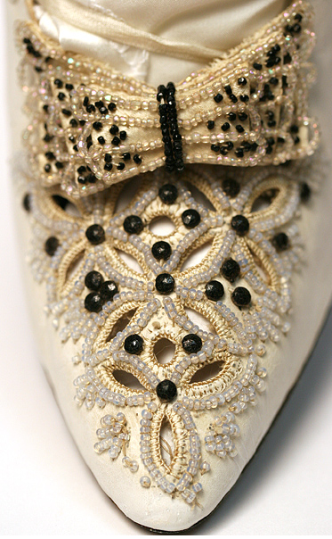 Detail of beadwork, on victorian dress shoe