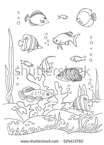 Coloring Book Page Black And Wight Ocean Bottom With Sea