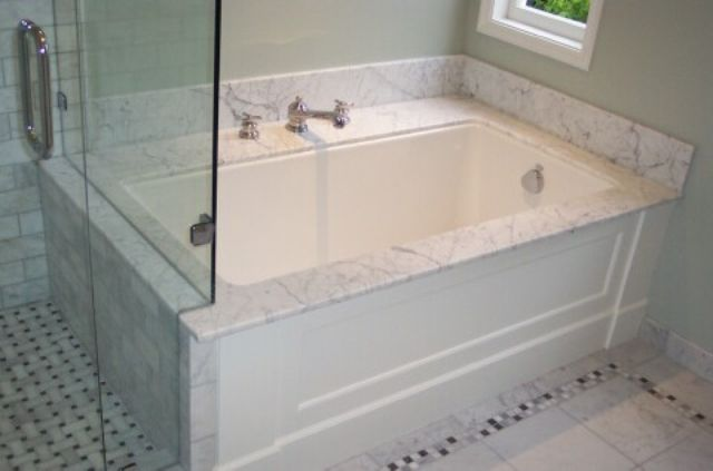 Bianco Carrara Marble Tub Surrounds, Bathroom Tub Surrounds