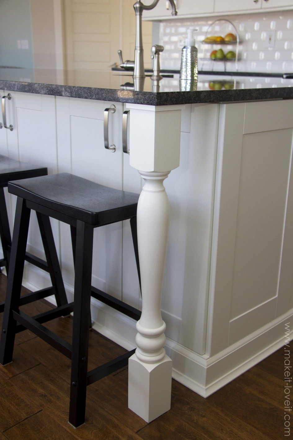 Stylish Kitchen Island Granite Top Overhang With Straight Edge Granite  Countertops Also Black Wooden Backless Bar