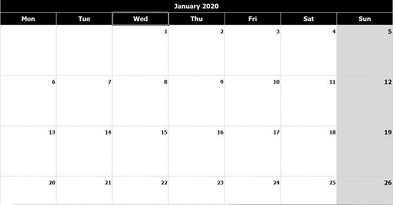 Download 2020 Monthly Calendar Mon Start Black White Excel