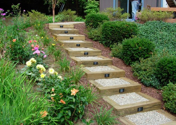 Superb 4 X 4 Railroad Ties, Hard Gravel And Lights Make An Attractive Set Of Steps  To Make A Hilly Landscape Managable.