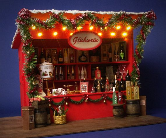 "Dollhouse Miniatures In Las Vegas: RESERVED German Miniature Christmas Market Stall ""Glühwein"