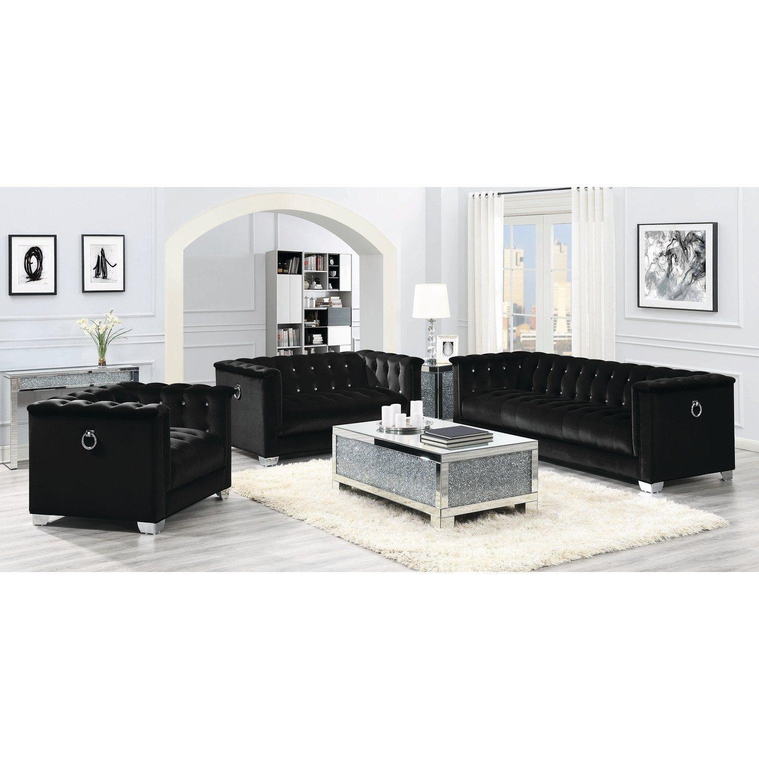 Best Strick Bolton La Rose Black 3 Piece Living Room Set In 400 x 300