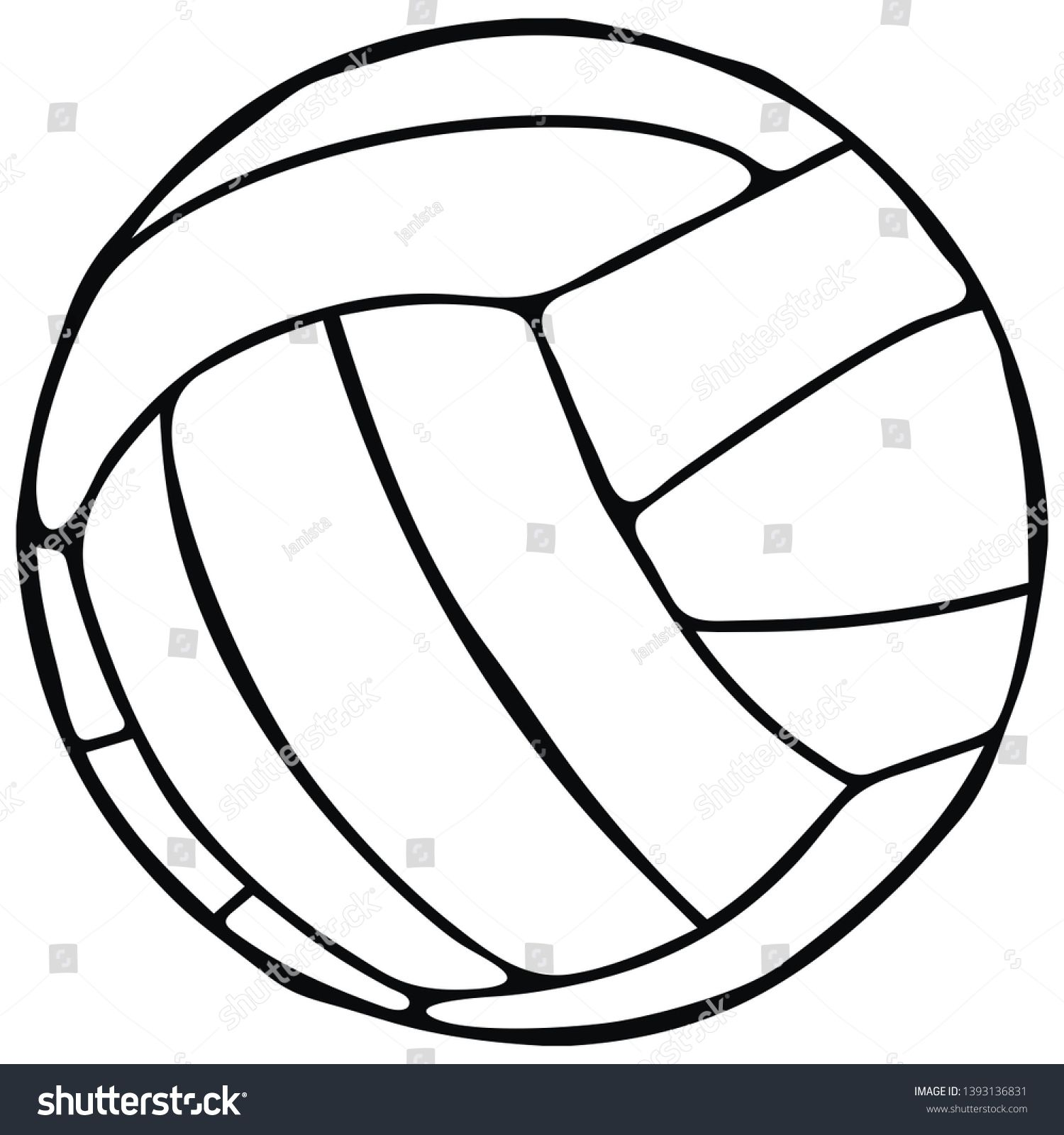 Volleyball Single Object Sports Ball Vector Icon Black And White Contour Drawing Sponsored Sponsored S Sports Balls Contour Drawing Branding Mockups