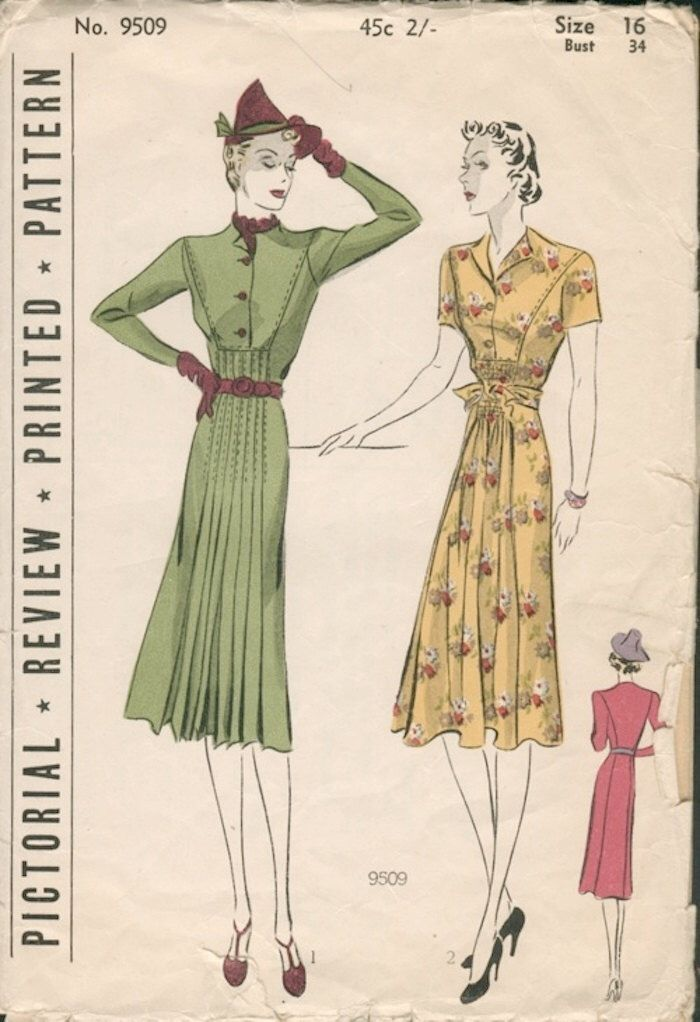 Sophisticated Unused Vintage 1930s Pictorial Review 9509 High Waist Shirtwaist Dress Sewing Pattern B34 di NostalgieVintage su Etsy https://www.etsy.com/it/listing/243305435/sophisticated-unused-vintage-1930s