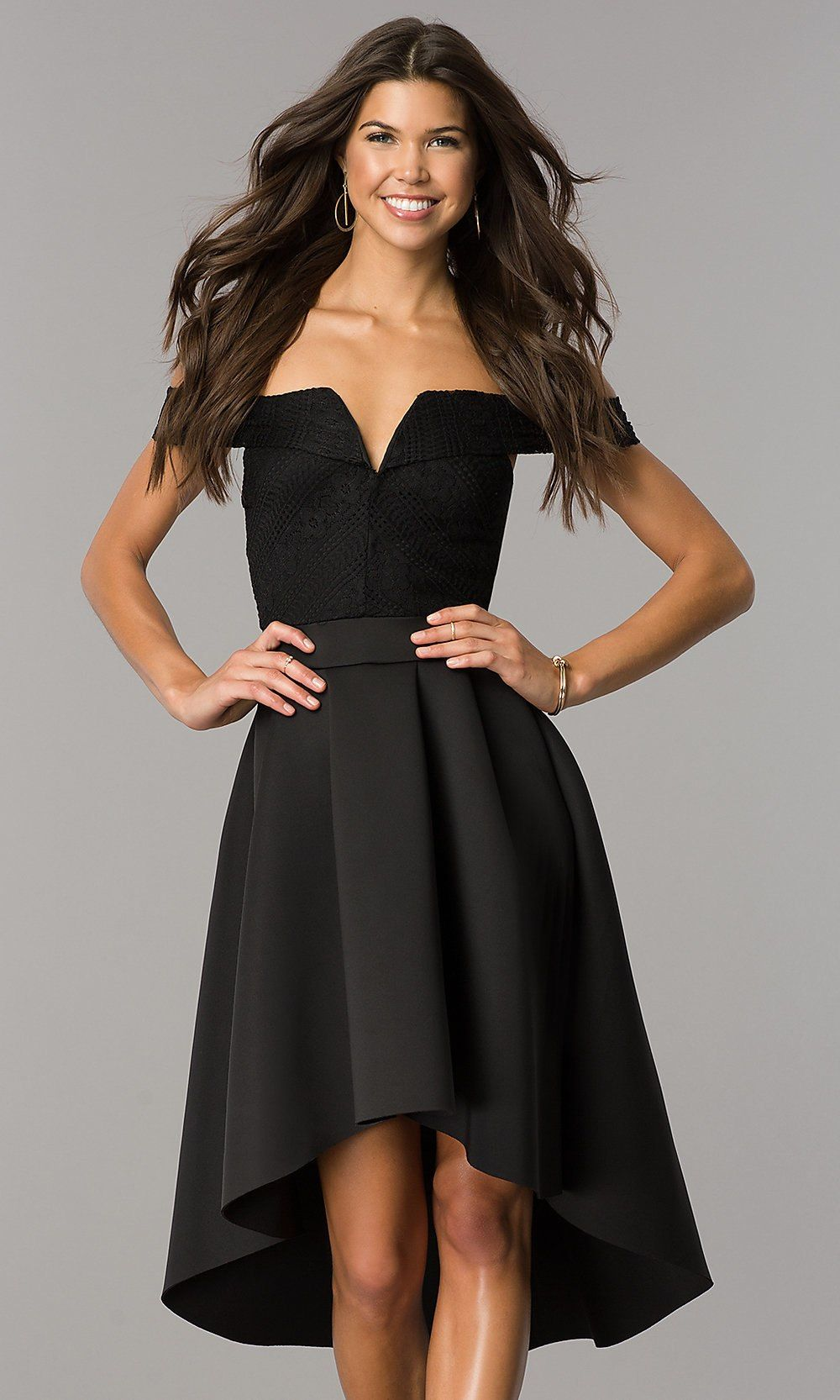 d890c61aa1fe High-Low Off-the-Shoulder Wedding-Guest Party Dress