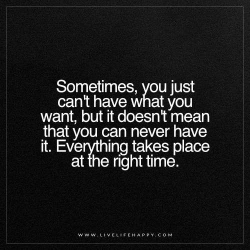 Sometimes You Just Can T Have What You Want Live Life Happy Be Yourself Quotes Want Quotes Right Time Quotes
