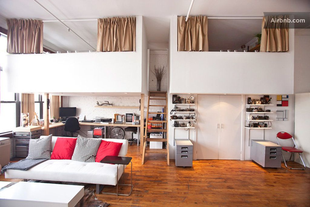 Kids Bedroom Mezzanine manhattan view 1200sqft artist loft in brooklyn | double mezzanine