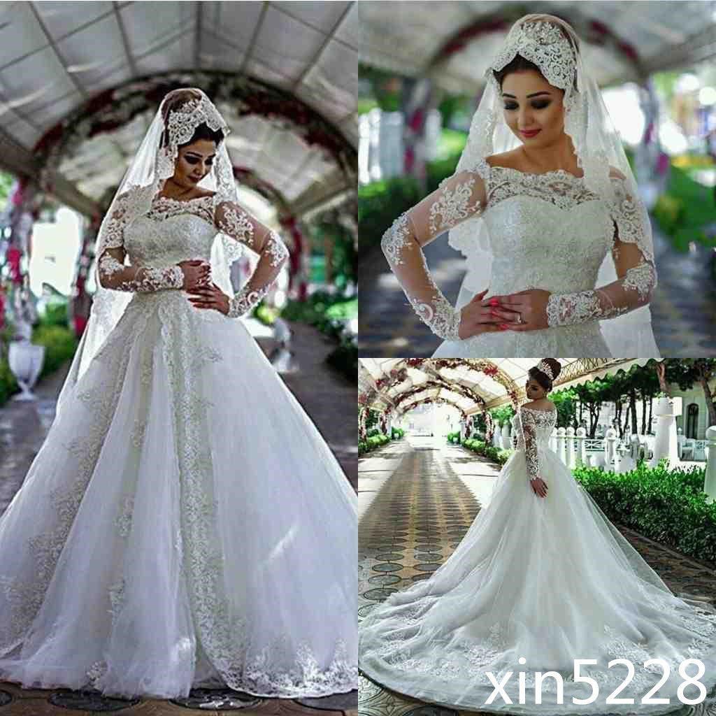 Amazing arabic dubai wedding dress lace crystal beads off