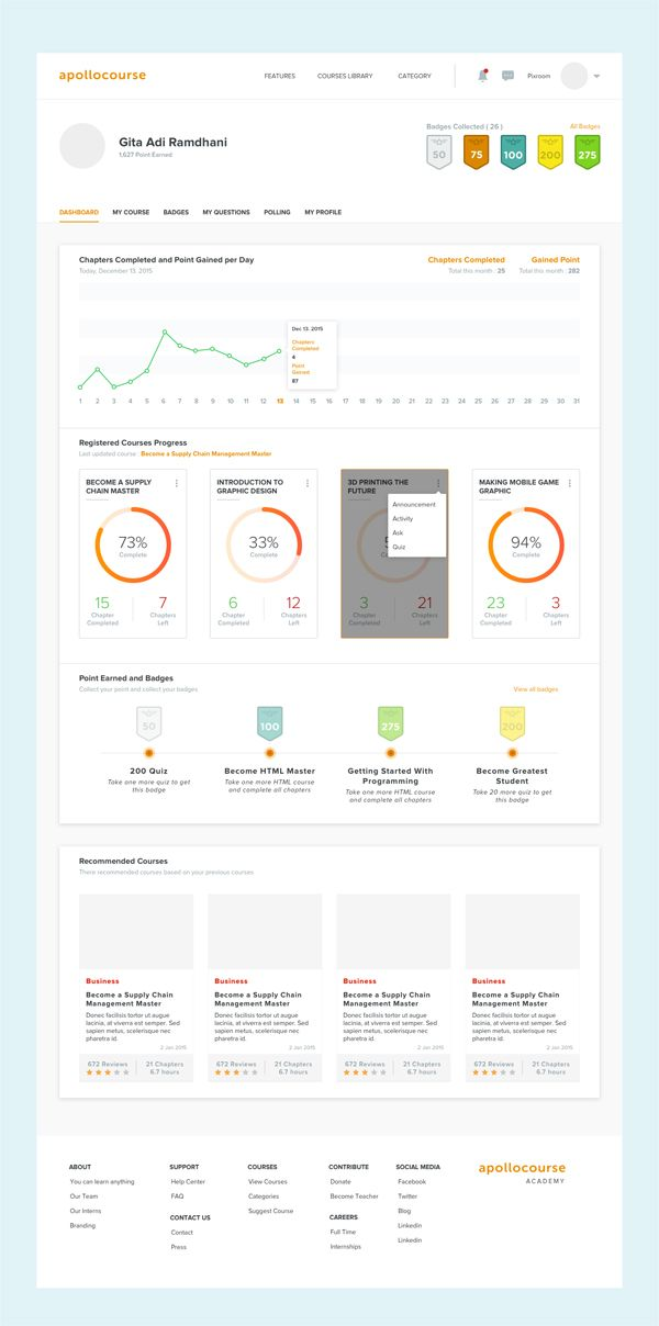 free sketch online learning course dashboard ui
