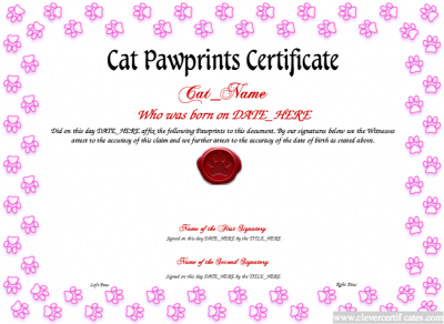 cat birth certificate  Cat Paw Prints Template. #Free #certificate templates. You can add ...