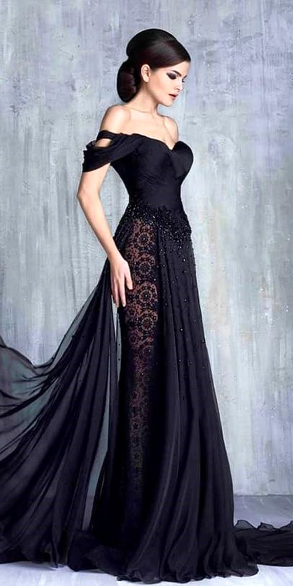 30 Black Wedding Dresses With Edgy Elegance | Black wedding ...
