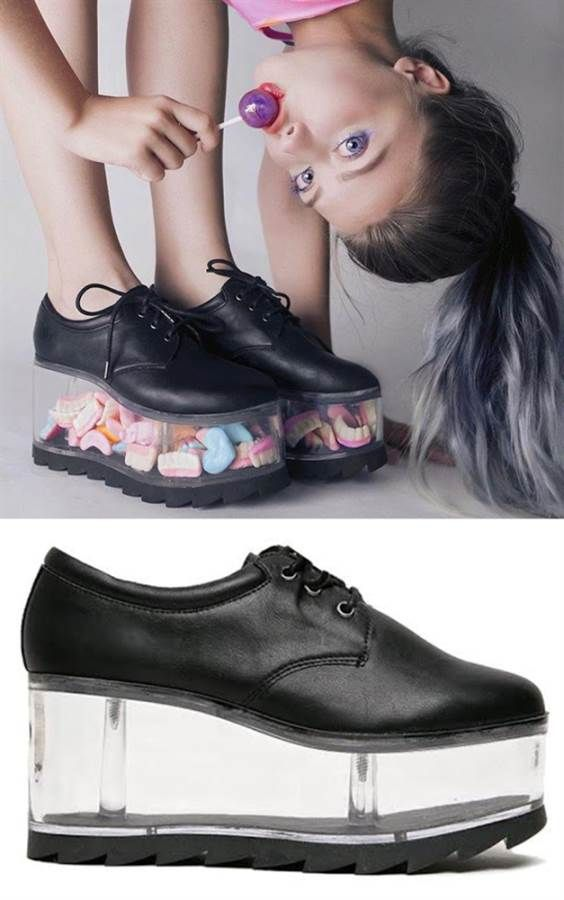 a68c9a3e06b YRU QLoud Clear Platforms. These quirky black faux leather shoes feature a  striking 3.5 inch clear platform heel which literally takes your look to  the next ...