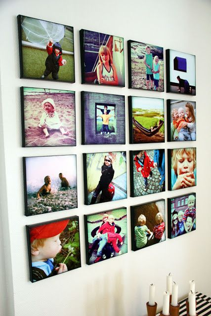Picture wall using the Poladroid program and canvas frames