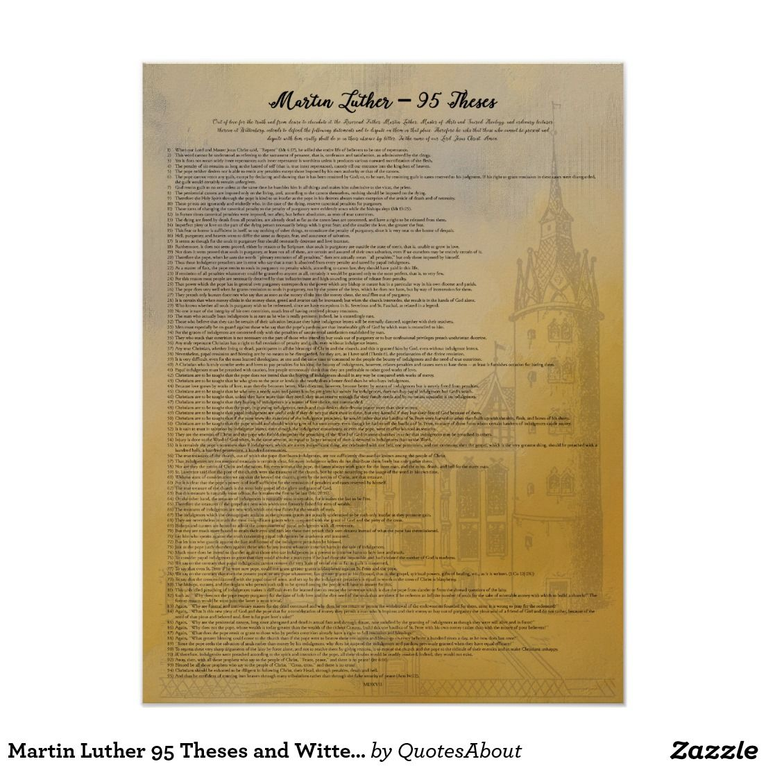 Martin Luther 95 Theses In English Poster