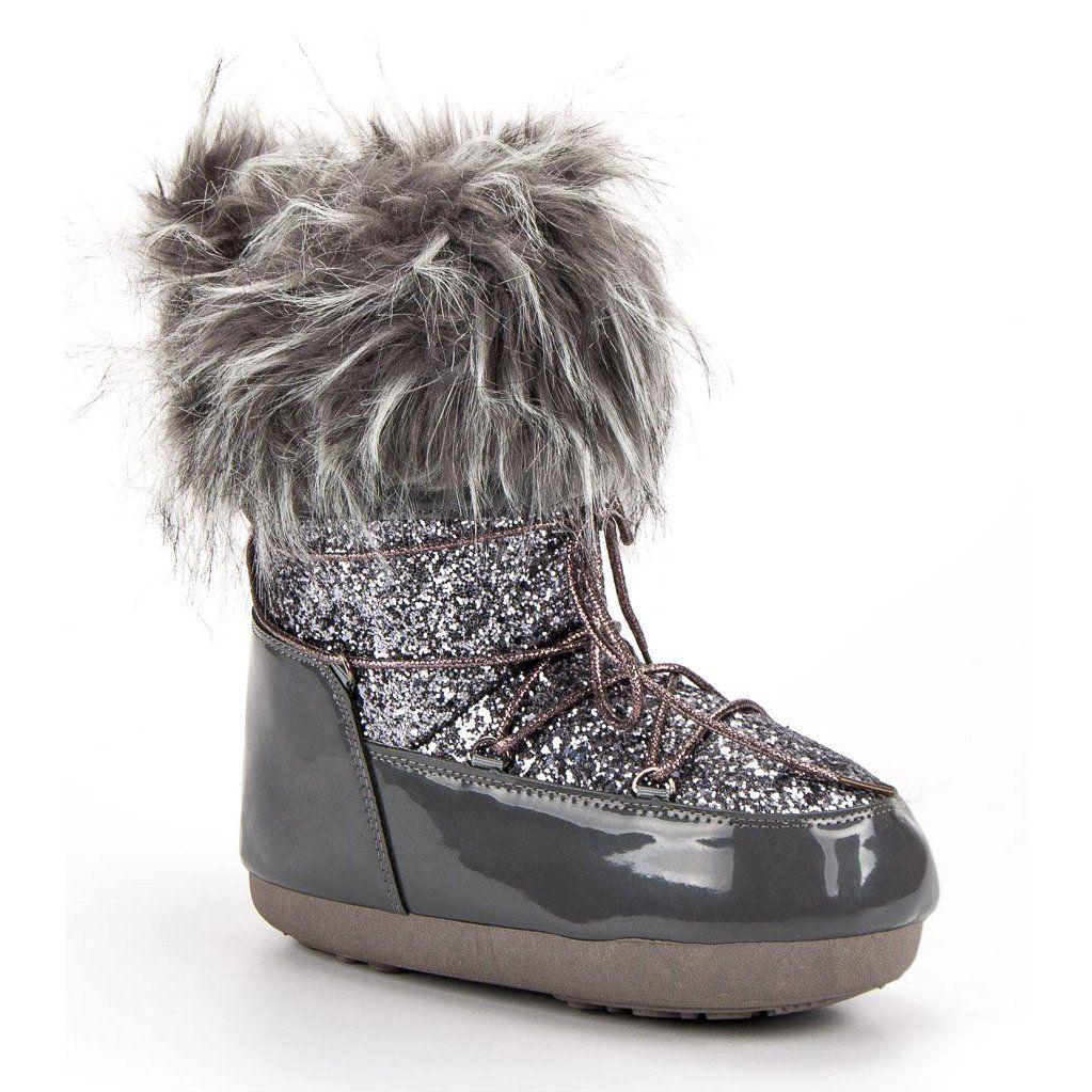 Modne Sniegowce Szare Shoes Boots Winter Boot