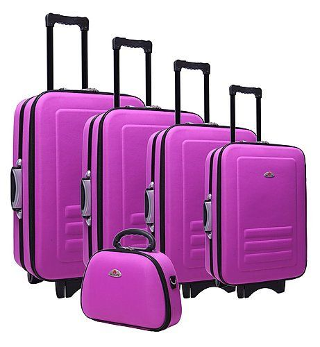 Purple Suitcases | 5pc Suitcase Trolley Travel Bag Luggage Set ...