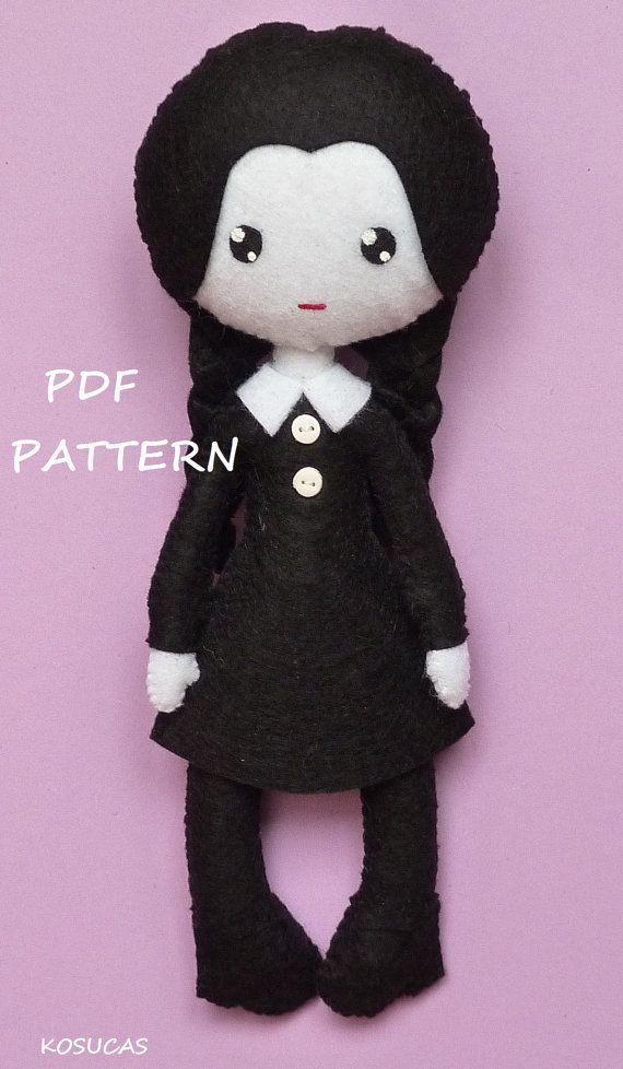 PDF sewing pattern to make felt Wednesday | Freebook nähen ...