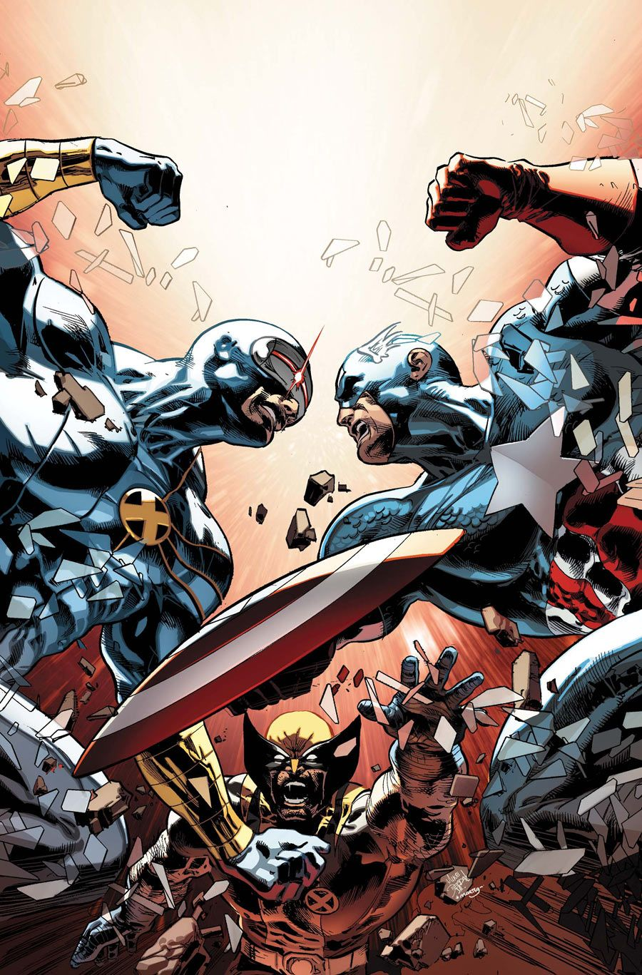 Cyclops vs Captain America by Mike Deodato Jr.