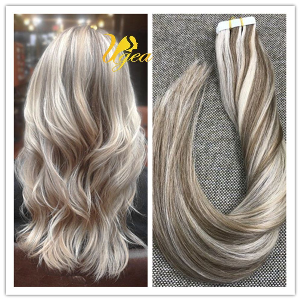Balayage piano brown highlight bleach blonde remy tape in human hair