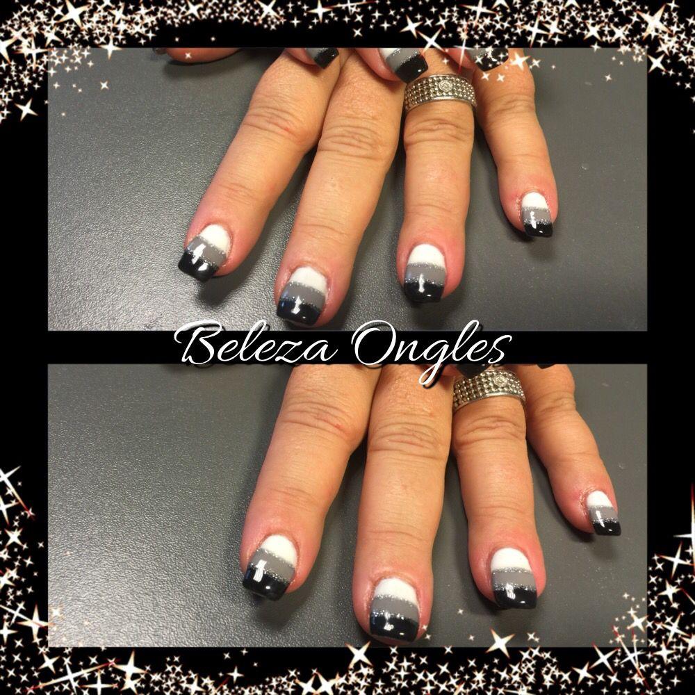 ongles gel noir gris blanc beleza ongles institut mon. Black Bedroom Furniture Sets. Home Design Ideas