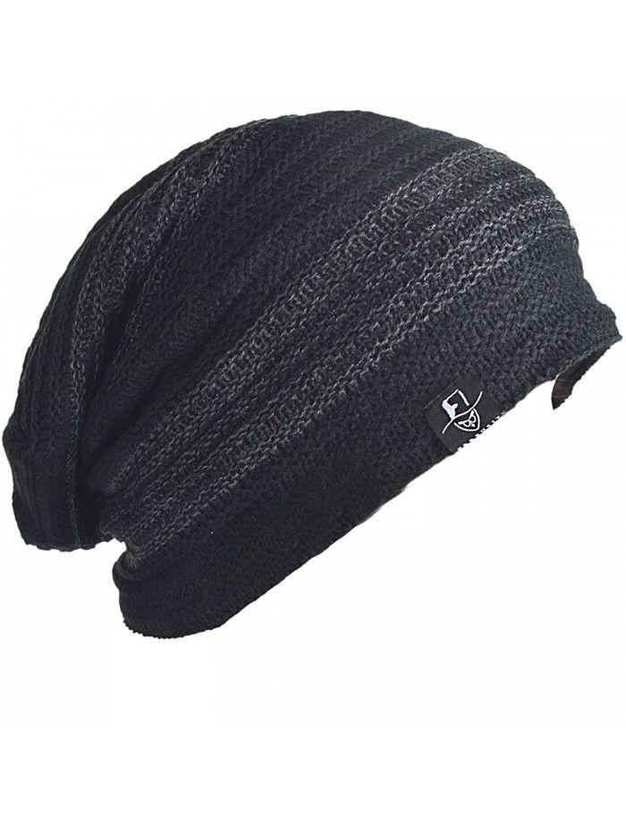 Men Slouchy Oversize Winter Beanie Casual Skully Cap - Dark Grey ... 50feb84cb12