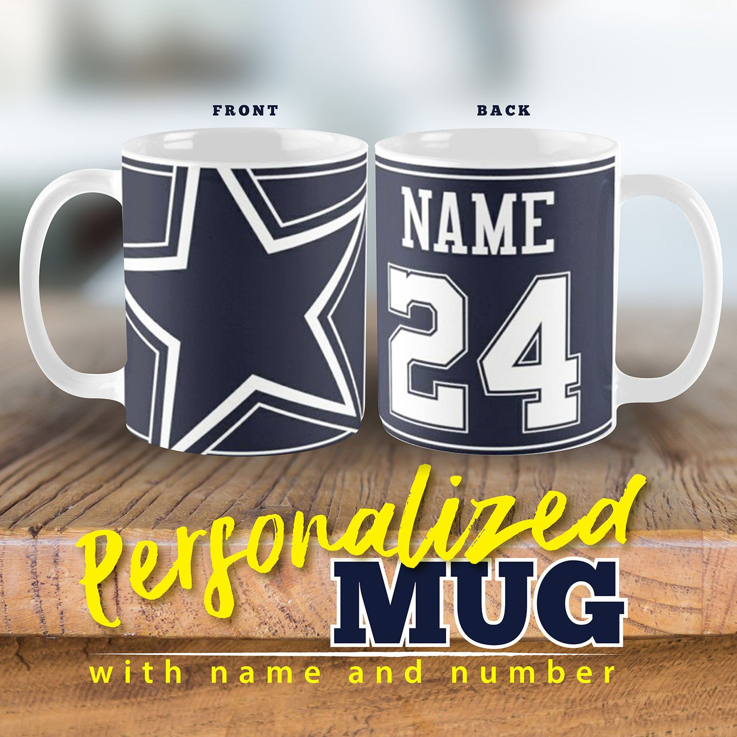 Personalised Dallas Cowboy Fan inspired mug Name and Number on Mug , Ideal personalise gift birthday gift for Cowboy Die-Hard Fan by RepublicMarketGoods on ...