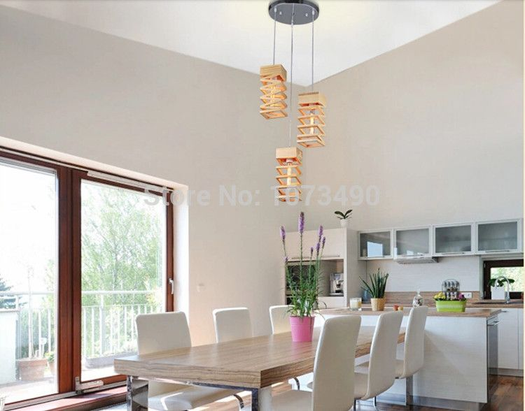 The fashion of modern 3 pendants wood spiral chandeliers for Sitting room dining room study room lamp-in Pendant Lights from Lights & Lighting on Aliexpress.com | Alibaba Group