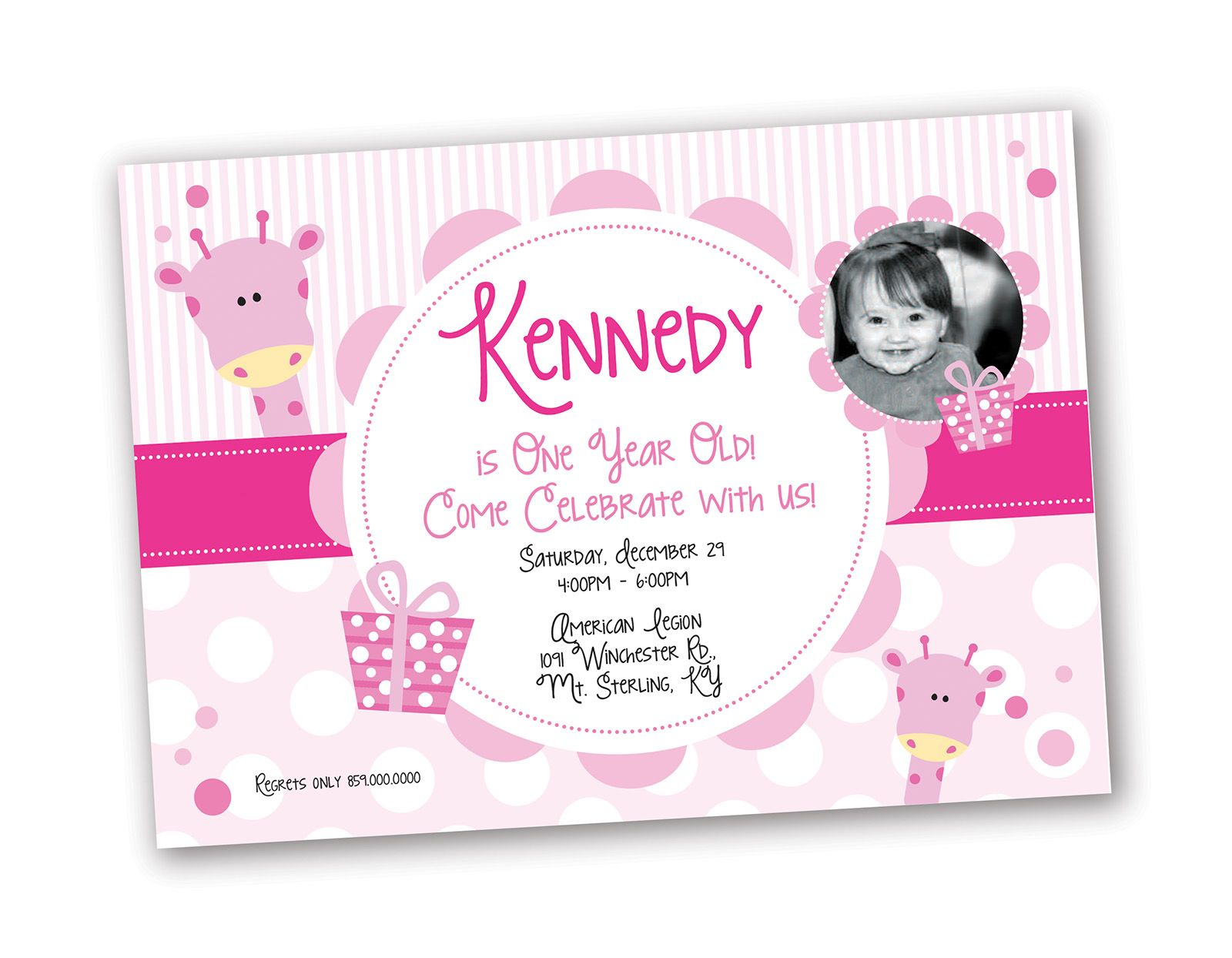 1 year old girl birthday invitation giraffe theme design designs
