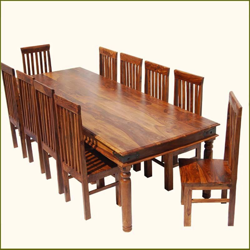 Formal Custom 11pc Solid Wood Large Family Dining Table Room 10