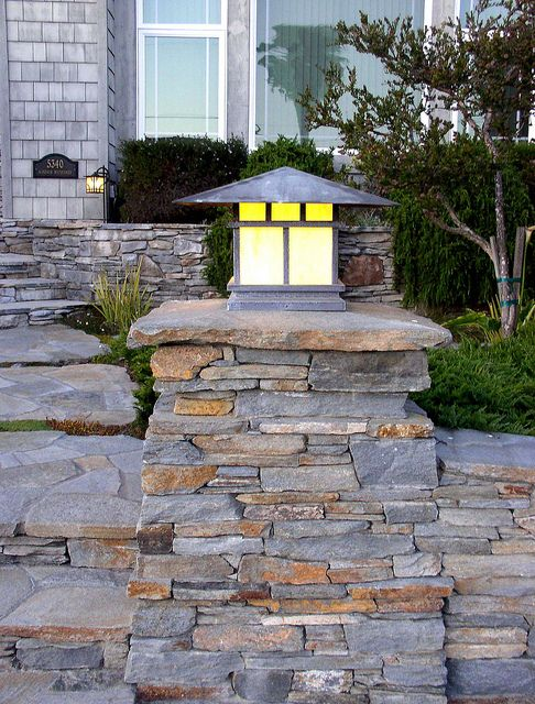 Stone Light Pilaster Painted Brick Exteriors Exterior Brick Outdoor Lighting