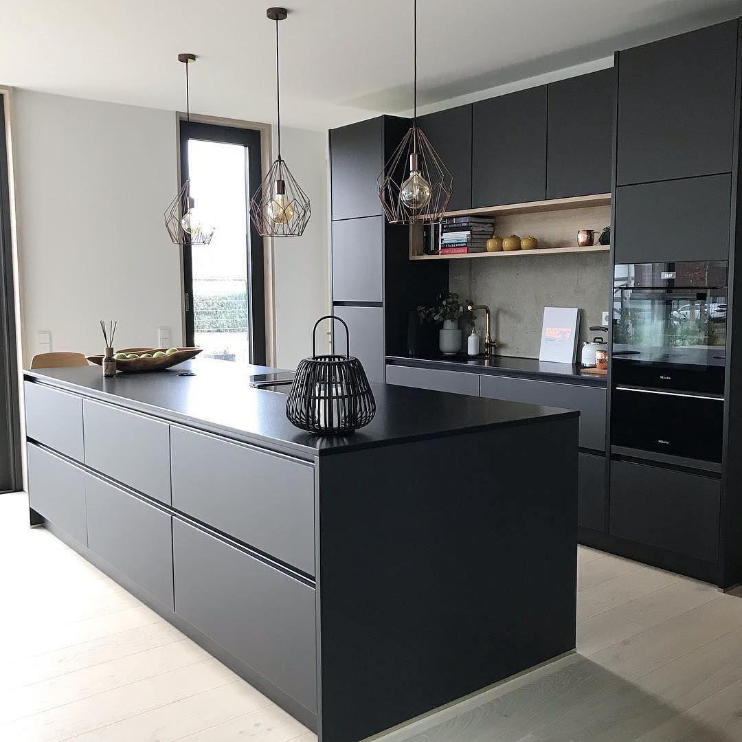 "@interior4inspo on Instagram: ""Black kitchen????Credit: @aneken.life"" #cuisinedintérieurcontemporain Black kitchen????Credi"