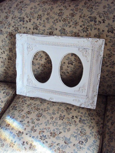 Vintage Shabby Chic Frame Distressed Chippy White Paint Double Frame ...