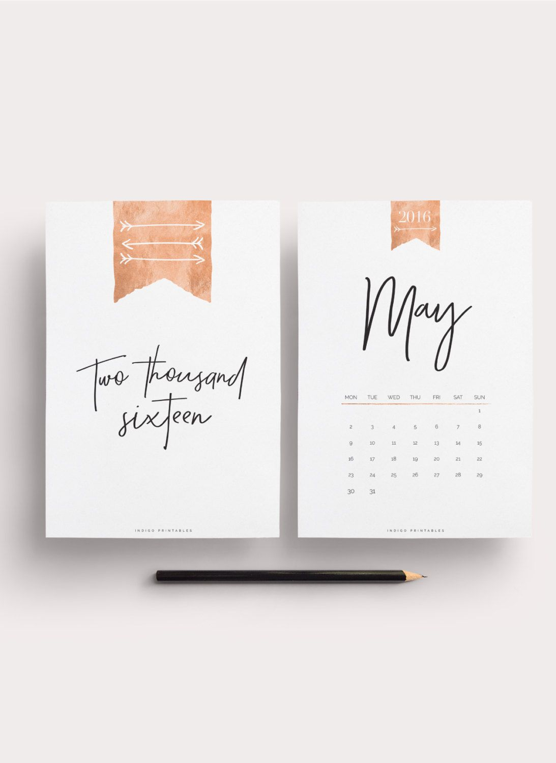 Calendar Typography Tips : Rose gold calendar pages created by