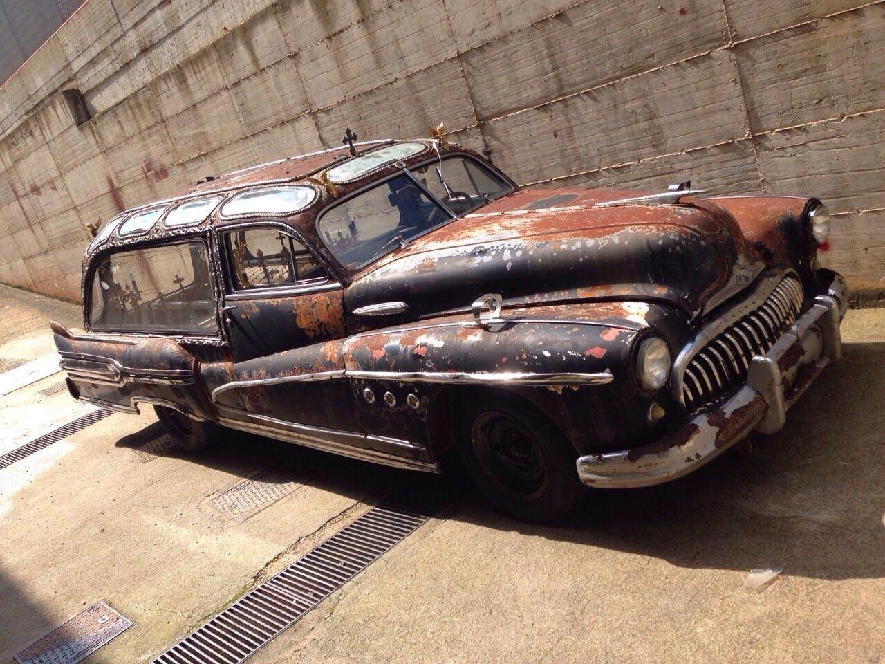 It has a new home, and air in the tires. 1947 Buick hearse